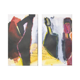 Figure Fine Art  Painting Modern Abstract Stretched Canvas Print