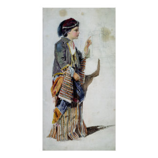 Figure of a girl in Turkish costume, 19th century Poster