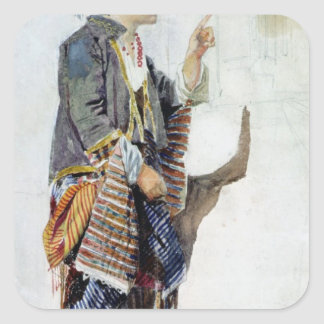 Figure of a girl in Turkish costume, 19th century Square Sticker