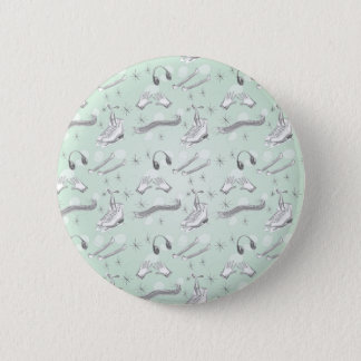 Figure Skate Sketch Art Mint Green Giftware 2 Inch Round Button