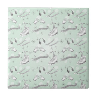 Figure Skate Sketch Art Mint Green Giftware Ceramic Tiles