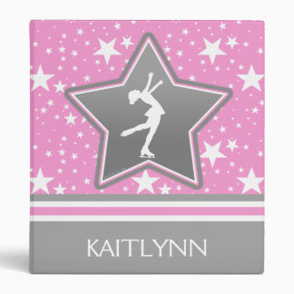 Figure Skater Among the Stars Pink with YOUR NAME 3 Ring Binder