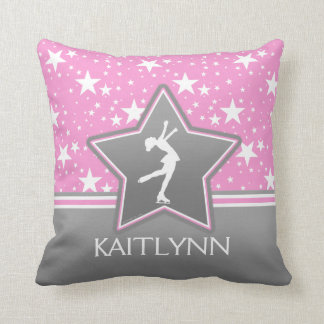 Figure Skater Among the Stars Pink with YOUR NAME Throw Pillow