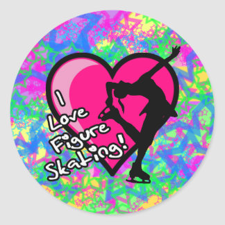 Figure Skater - Colorful Stars Large Sticker