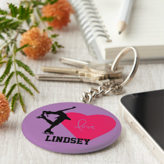 Figure Skater KeyChain Personalized -Heart/Purple