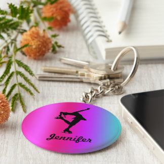 Figure Skater Name Key Chain (Pink, Purple, Blue)