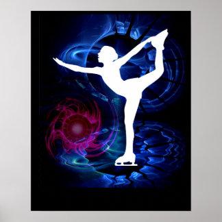 Figure Skater on Technicolor Ice Poster