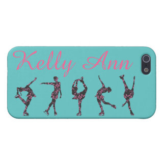 FIGURE SKATER PHONE CASE, Teal, Pink, Floral, Name iPhone 5/5S Case