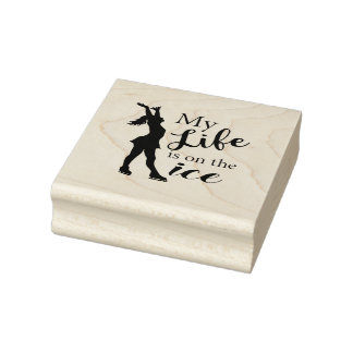 Figure Skater Rubber Stamp