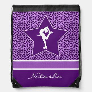 Figure Skater w/ Purple Cheetah Print and Monogram Drawstring Bag