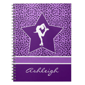 Figure Skater w/ Purple Cheetah Print and Monogram Notebooks