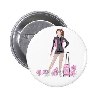 Figure Skater With Zuka Bag 2 Inch Round Button