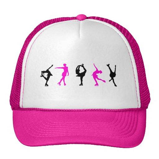 figure skaters  hot pink & black hats