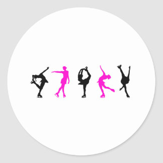figure skaters  hot pink & black round sticker