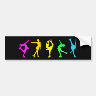 Figure Skaters Neon Pastel Rainbow Bumper Sticker