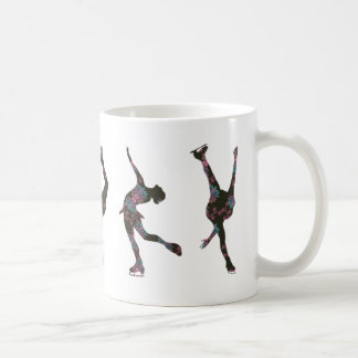 Figure Skaters, Pink, Grey Pattern Coffee Mug
