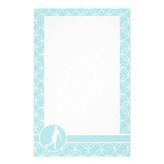 Figure Skating Baby Blue Circles Stationery Design