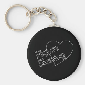 Figure Skating Heart/Love Basic Round Button Keychain