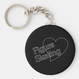 Figure Skating Heart/Love Basic Round Button Keychain
