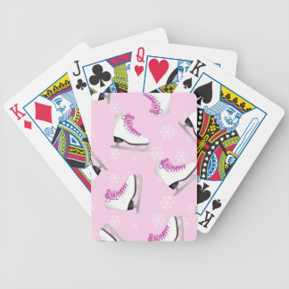 Figure Skating - Ice Skates Pink with Snowflakes Bicycle Playing Cards