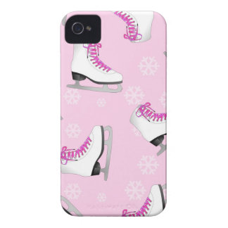 Figure Skating - Ice Skates Pink with Snowflakes iPhone 4 Covers