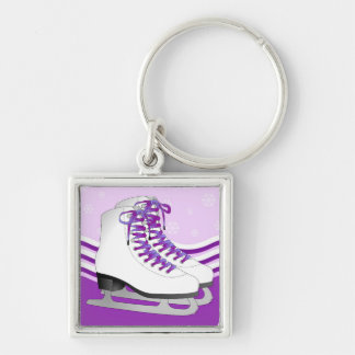 Figure Skating - Ice Skates Purple with Snowflakes Silver-Colored Square Keychain