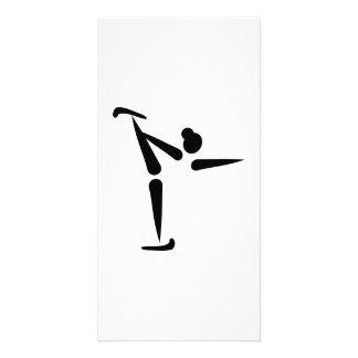 Figure skating icon custom photo card