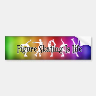 Figure Skating Is Life Rainbow Bumper Sticker