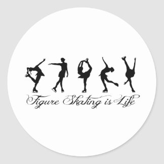 Figure Skating is Life - Script & Skaters Classic Round Sticker