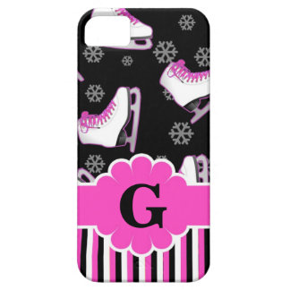 Figure Skating Pink & Black Custom Monogram iPhone 5 Cover