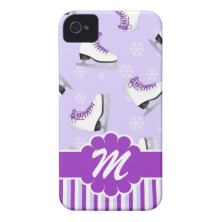 Figure Skating Purple and White Custom Monogram iPhone 4 Cover