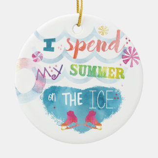 Figure Skating Summer Gifts Round Ceramic Ornament