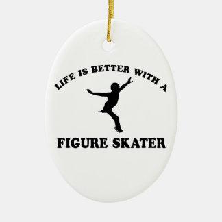 Figure Skating Vector Designs Ceramic Ornament