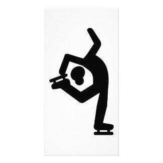 Figure skating woman photo card template