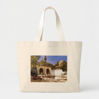 Figures in the Courtyard of a Mosque by Edwin Lord Large Tote Bag