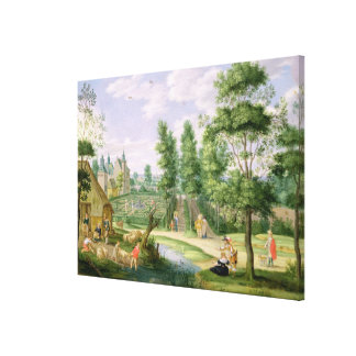 Figures in the Grounds of a Country House Canvas Prints