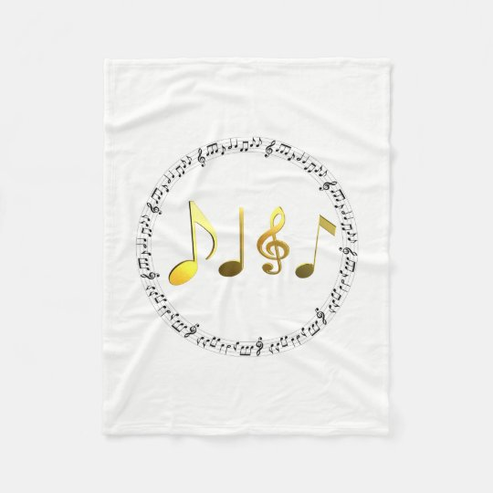 Figures of notes and treble clef gilded fleece blanket