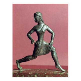 Figurine of a girl running, postcard