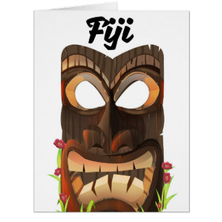 Fiji carved mask card