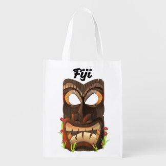 Fiji carved mask reusable grocery bag