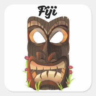 Fiji carved mask square sticker