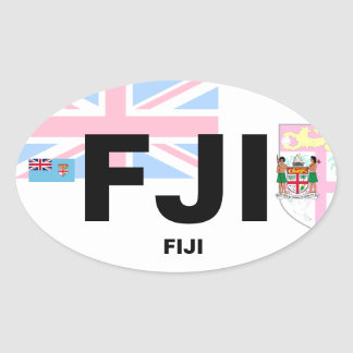 Fiji (FJI) Euro-Style Oval Sticker