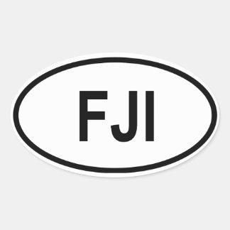 """Fiji """"FJI"""" Oval Sticker"""