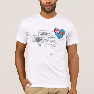 Fiji Flag Heart and Map T-Shirt