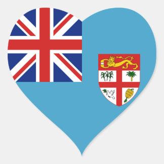 Fiji Flag Heart Sticker
