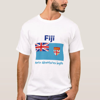 Fiji Flag + Map + Text T-Shirt