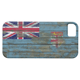 Fiji Flag on Rough Wood Boards Effect Case For The iPhone 5