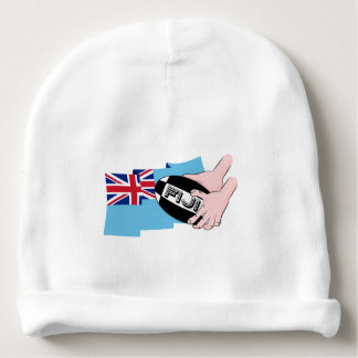 Fiji Flag Rugby Ball Pass Cartoon Hands Baby Beanie