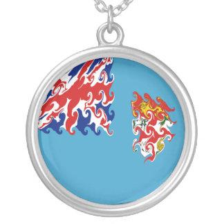 Fiji Gnarly Flag Round Pendant Necklace