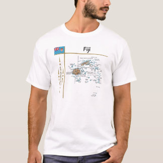 Fiji Map + Flag + Title T-Shirt